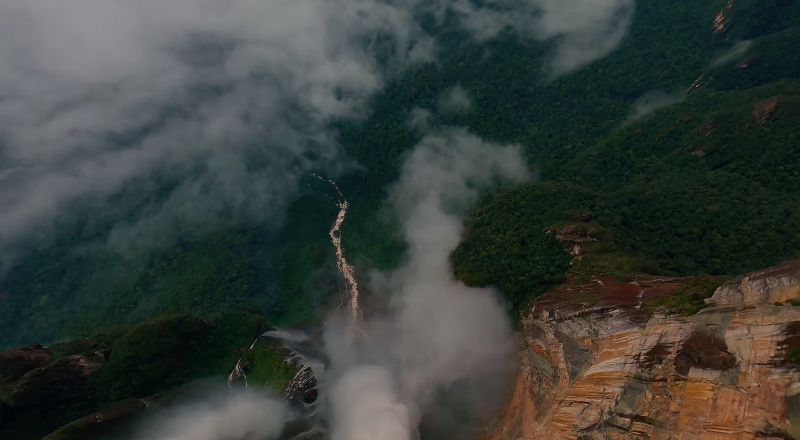 This drone jump into the highest waterfall